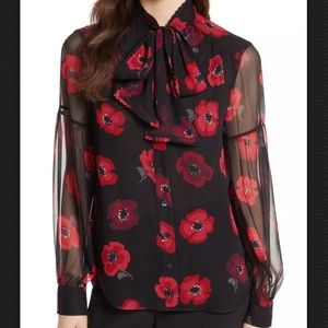 Kate Spade Ooh La La Poppy Chiffon Sheer Blouse